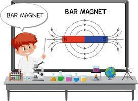 giovane scienziato che spiega il magnete a barra vettore