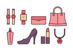 Set di icone di moda donna vettore