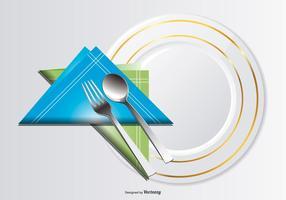 Illustrazione del piatto, del cucchiaio, della forcella e del tovagliolo vettore