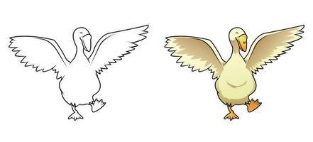 Pagina da colorare di oca cartone animato per bambini