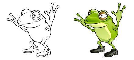 Pagina da colorare di cartoni animati rana per bambini vettore