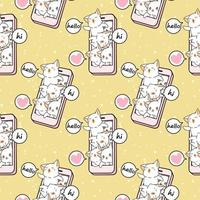 personaggi di gatto kawaii senza soluzione di continuità nel modello di telefono cellulare vettore