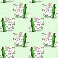 personaggi di gatto kawaii senza soluzione di continuità e motivo a bastoncino di candela verde vettore