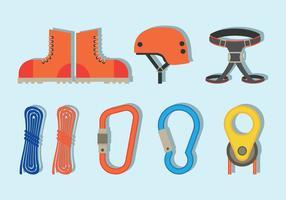 Icone dell'attrezzatura di rappelling vettore