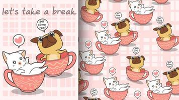 gatto e cane kawaii senza soluzione di continuità nel modello di tazza vettore