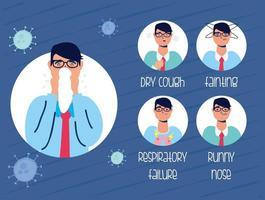 banner di prevenzione e sintomi del coronavirus vettore