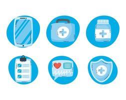 set di icone di tecnologia sanitaria online vettore