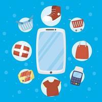 smartphone con tecnologia di acquisto online vettore