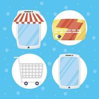 pacchetto di icone della tecnologia di e-commerce e shopping online
