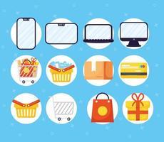 set di icone di shopping online ed e-commerce