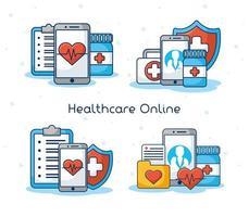 tecnologia sanitaria online e banner di composizione medica