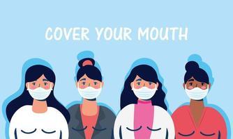 donne con maschere per il viso e si coprono la bocca con scritte vettore
