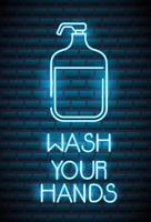 lavati le mani, insegna al neon del coronavirus
