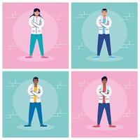 set di personaggi dei cartoni animati del personale medico