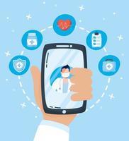 tecnologia sanitaria online tramite smartphone vettore