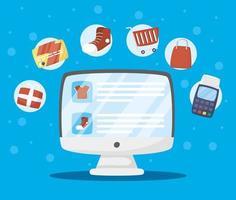 desktop con tecnologia di acquisto online vettore
