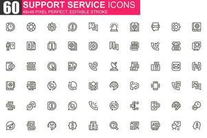 set di icone di linea sottile del servizio di supporto