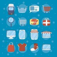 pacchetto di icone della tecnologia di e-commerce e shopping online vettore