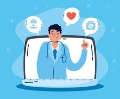tecnologia sanitaria online tramite laptop vettore