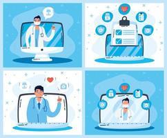 set di tecnologia e gadget sanitari online vettore