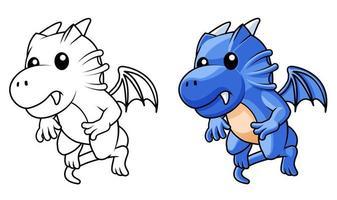 Simpatico cartone animato drago da colorare pagina per bambini vettore