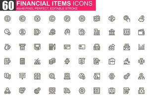 set di icone di linea sottile di elementi finanziari vettore