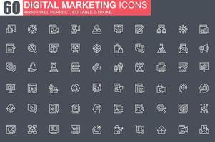set di icone di sottile linea di marketing digitale vettore