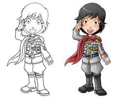 mariner cartoon pagina da colorare per bambini vettore