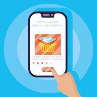 acquisti online ed e-commerce tramite smartphone vettore