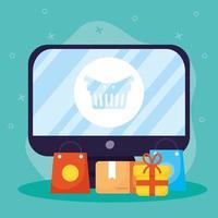 acquisti online ed e-commerce tramite computer vettore