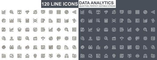 set di icone di linea sottile di analisi dei dati vettore