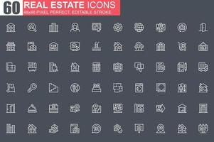 set di icone di linea sottile immobiliare vettore