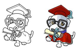simpatico cartone animato cane da colorare pagina per bambini vettore