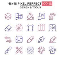 design e strumenti set di icone di linea sottile