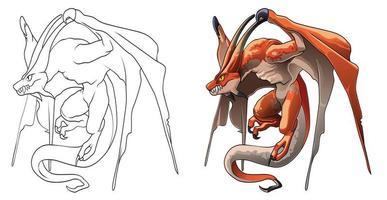 Pagina da colorare di cartoni animati mostro drago per bambini vettore