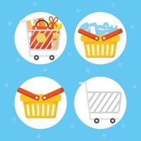 set di icone di shopping e commercio vettore