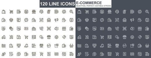 set di icone di linea sottile di e-commerce vettore