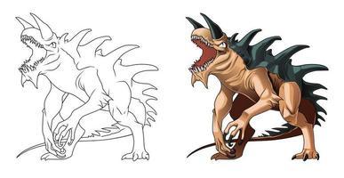 Pagina da colorare di cartoni animati drago per bambini vettore