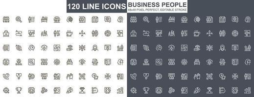 set di icone di sottile linea di uomini d'affari vettore