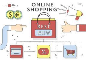 Icone e elementi di shopping online vettoriali gratis Design piatto