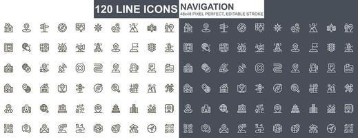set di icone di navigazione sottile linea vettore
