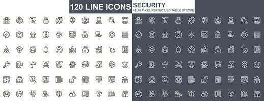 set di icone di sottile linea di sicurezza vettore