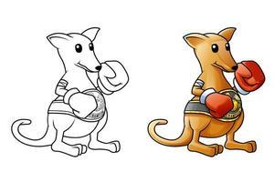pagina da colorare di canguro cartone animato per bambini vettore