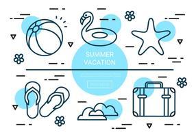 Elementi di vettore di vacanze estive lineari