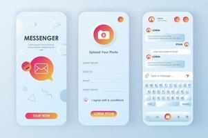 kit di progettazione neomorfica di messenger online vettore