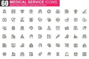 set di icone di linea sottile di servizio medico vettore