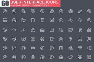 set di icone di sottile linea di interfaccia utente vettore