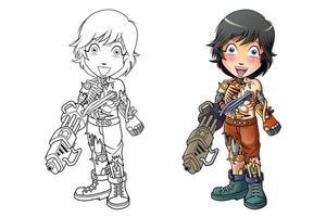Pagina da colorare di cartoni animati cyborg per bambini vettore