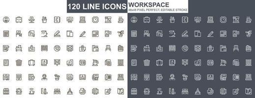 set di icone di linea sottile area di lavoro vettore