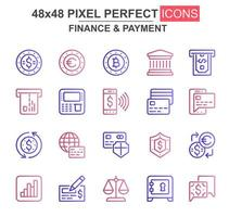 set di icone di sottile linea di finanza e pagamento vettore